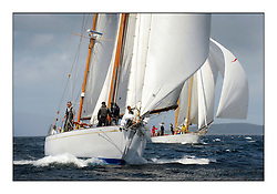 Day five of the Fife Regatta, Race from Portavadie on Loch Fyne to Largs. <br /> <br /> Latifa, 8, Mario Pirri, ITA, Bermudan Yawl, Wm Fife 3rd, 1936 <br /> with Astor, Richard Straman, USA, Schooner, Wm Fife 3rd, 1923<br /> <br /> * The William Fife designed Yachts return to the birthplace of these historic yachts, the Scotland's pre-eminent yacht designer and builder for the 4th Fife Regatta on the Clyde 28th June–5th July 2013<br /> <br /> More information is available on the website: www.fiferegatta.com