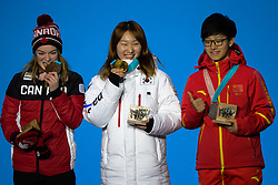 February 18, 2018 - Pyeongchang, South Korea - YANG ZHOU of China (right) , CHOI MIN-JEONG of Korea (center) and KIM BOUTIN of Canada with their medals from the Ladies' 1500m Short Track speed skating event in the PyeongChang Olympic Games. (Credit Image: © Christopher Levy via ZUMA Wire)