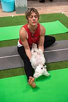 Doga Dog yoga Many Djahanguiri and   Robbie from Britain's got talent  at Crufts 2020 held at the NEC Birmingham.photo Mark Anton Smith