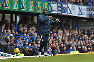Northampton Town manager, Jimmy Floyd Hasselbaink on the side lines during the EFL Sky Bet League 1 match between Portsmouth and Northampton Town at Fratton Park, Portsmouth, England on 30 December 2017. Photo by Adam Rivers.