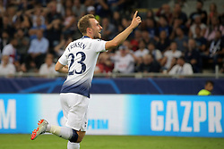 September 18, 2018 - Milan, Milan, Italy - Christian Eriksen #23 of Tottenham Hotspur celebrates after scoring the his goal during  the UEFA Champions League group B match between FC Internazionale and Tottenham Hotspur at Stadio Giuseppe Meazza on September 18, 2018 in Milan, Italy. (Credit Image: © Giuseppe Cottini/NurPhoto/ZUMA Press)
