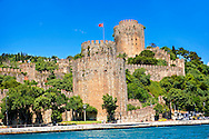 Rumelihisar (Rumelian Castle) on the banks of the Bosphorus built by the Ottoman Sultan Mehmed II between 1451 in 4 months and 16 days as part of the siege of Constantinople  before he conquered it in 1453. Istanbul Turkey .<br /> <br /> If you prefer to buy from our ALAMY PHOTO LIBRARY  Collection visit : https://www.alamy.com/portfolio/paul-williams-funkystock/istanbul.html<br /> <br /> Visit our TURKEY PHOTO COLLECTIONS for more photos to download or buy as wall art prints https://funkystock.photoshelter.com/gallery-collection/3f-Pictures-of-Turkey-Turkey-Photos-Images-Fotos/C0000U.hJWkZxAbg