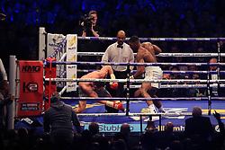 29 April 2017 - Boxing - Anthony Joshua v Wladimir Klitschko (IBF and WBA heavyweight) - Joshua knocks down Klitschko - Photo: Marc Atkins / Offside.