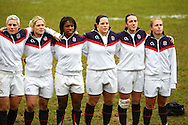 29 Feb 2010 Esher, Surrey: The England team during the national anthem before the Women's Six Nations game between England and Ireland at Esher Rugby Club (photo by Andrew Tobin/SLIK images)