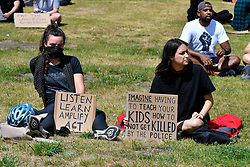 Black Lives Matter protest in Forbury Park, Reading UK UK 13 June 2020. Following George Floyd's murder by white police in Minneapolis at the end of May, protests have taken place around the world despite Coronavirus lockdown rules.