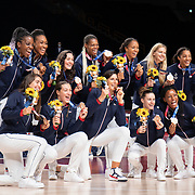 TOKYO, JAPAN August 8:  The French team with their bronze medals at the medal presentation ceremony after the Japan V USA basketball final for women at the Saitama Super Arena during the Tokyo 2020 Summer Olympic Games on August 8, 2021 in Tokyo, Japan. (Photo by Tim Clayton/Corbis via Getty Images)