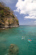 James and Linda Campbell of Portsmoth England snorkle at the Anse Chastanet Resort, St. Lucia