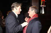 Roger Allam and Cameron Mackintosh. Blackbird press night,  Mint Leaf. London. 13 February 2006. ONE TIME USE ONLY - DO NOT ARCHIVE  © Copyright Photograph by Dafydd Jones 66 Stockwell Park Rd. London SW9 0DA Tel 020 7733 0108 www.dafjones.com