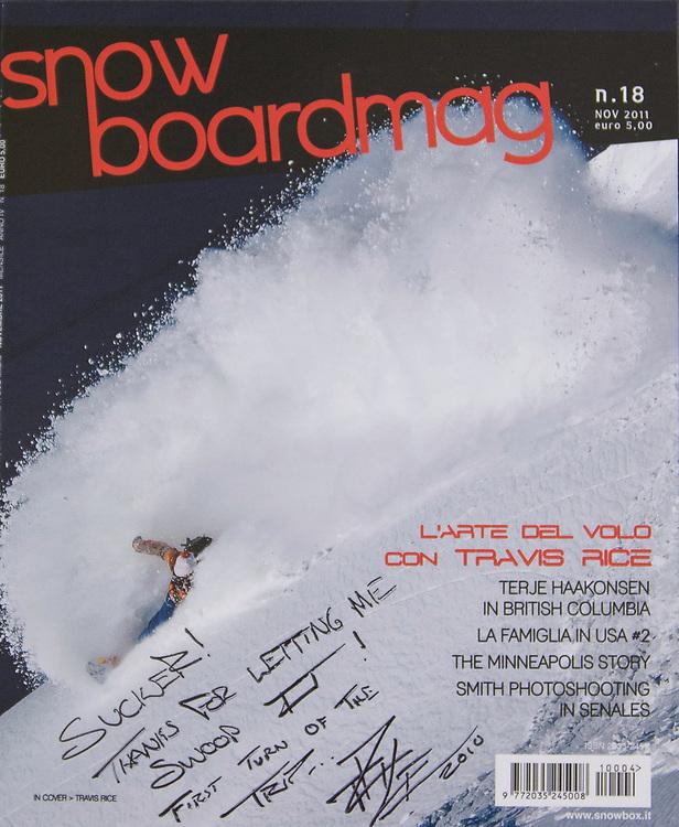Scott Serfas cover image of Travis Rice for Snowboardmag Magazine.