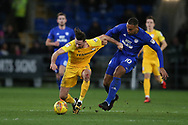 Alan Browne of Preston North End (l) is held by Kenneth Zohore of Cardiff city.EFL Skybet championship match, Cardiff city v Preston North End at the Cardiff city stadium in Cardiff, South Wales on Friday 29th December 2017.<br /> pic by Andrew Orchard, Andrew Orchard sports photography.