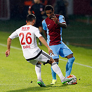 Trabzonspor's Kevin Constant (R) and Gaziantepspor's Baris Yardimci (L) during their Turkish Super League match Trabzonspor between Gaziantepspor at the Avni Aker Stadium at Trabzon Turkey on Wednesday, 28 October 2015. Photo by Aykut AKICI/TURKPIX