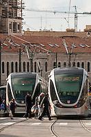 Light rail trams, Jerusalem, Israel.
