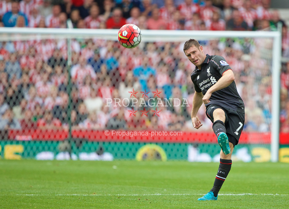 STOKE-ON-TRENT, ENGLAND - Sunday, August 9, 2015: Liverpool's James Milner in action against Stoke City during the Premier League match at the Britannia Stadium. (Pic by David Rawcliffe/Propaganda)