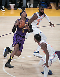 January 4, 2019 - Los Angeles, California, U.S - Kentavious Caldwell-Pope #1 of the Los Angeles Lakers drives to the basket during their NBA game with the New York Knicks on Friday January 4, 2019 at the Staples Center in Los Angeles, California. (Credit Image: © Prensa Internacional via ZUMA Wire)