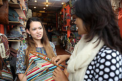 AYAD volunteer Julia Price on the left and Sunti Purja on the right the manager of the shop called Rhitu Saugat, the retail outlet for finished products made by village members who have had training by MEDEP, Pokhara, Nepal.
