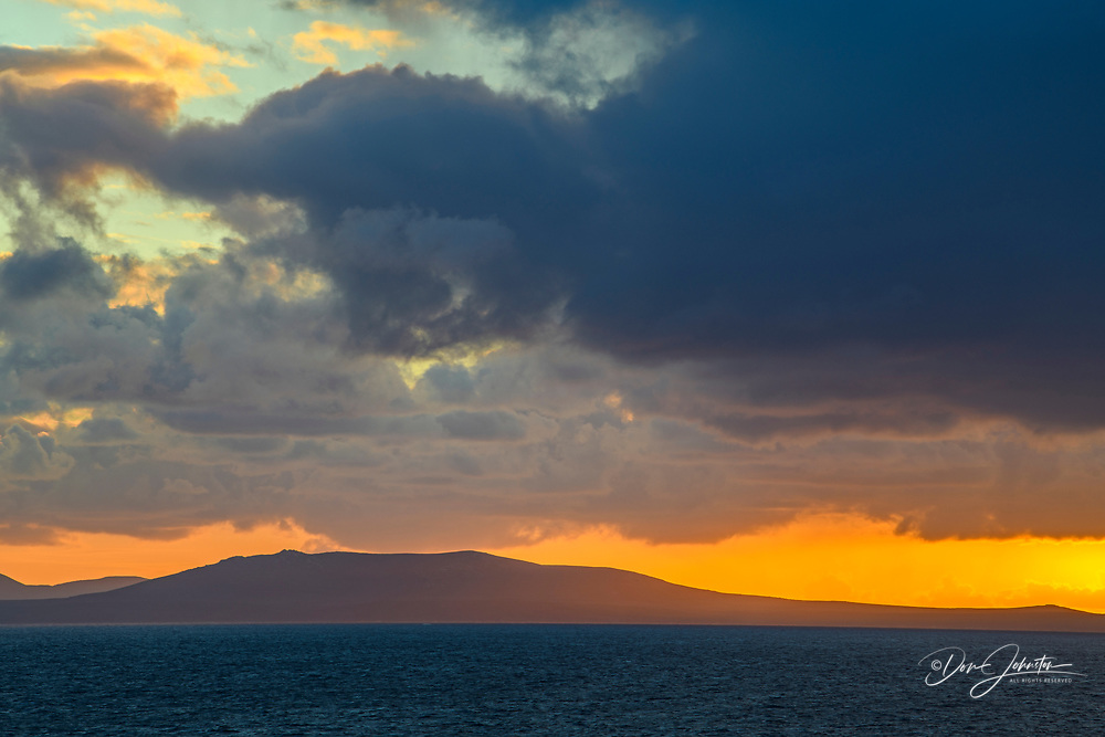 Sunset over the Atlantic Ocean, from the Neck, Saunders Island, West Falkland, Falkland Islands