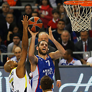 Anadolu Efes's Stratos Perperoglou (R) during their Turkish Airlines Euroleague Basketball Top 16 Round 7 match Anadolu Efes between Fenerbahce Ulker at Abdi ipekci arena in Istanbul, Turkey, Friday 13 February, 2015. Photo by Aykut AKICI/TURKPIX