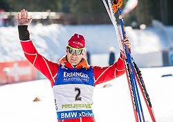 Third placed Ole Einar Bjoerndalen (NOR) at medal ceremony after the  Men 15 km Mass Start at day 4 of IBU Biathlon World Cup 2015/16 Pokljuka, on December 20, 2015 in Rudno polje, Pokljuka, Slovenia. Photo by Vid Ponikvar / Sportida