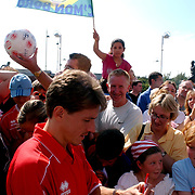 Middlesbrough's Juninho signs autographs for fans outside the stadium after his arrival for his third spell at the club