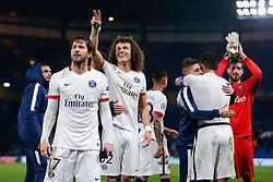 David Luiz celebrates after Paris Saint-Germain win the math 1-2 to progress to the last 8 of the competition - Mandatory byline: Rogan Thomson/JMP - 09/03/2016 - FOOTBALL - Stamford Bridge Stadium - London, England - Chelsea v Paris Saint-Germain - UEFA Champions League Round of 16: Second Leg.