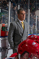KELOWNA, BC - JANUARY 31: Spokane Chiefs' head coach Manny Viveiros stands on the bench against the Kelowna Rockets at Prospera Place on January 31, 2020 in Kelowna, Canada. (Photo by Marissa Baecker/Shoot the Breeze)
