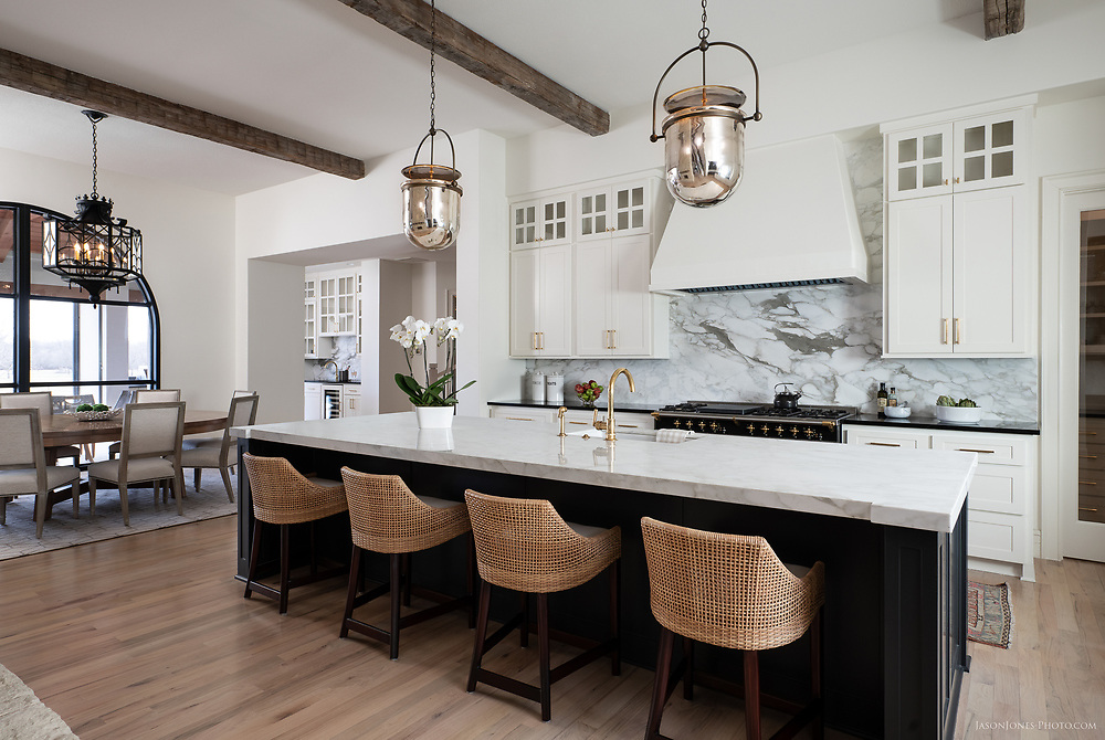 Traditional Home Kitchen, in white marble with contrasting paint. Texas Architectural and interiors photography by Jason Jones