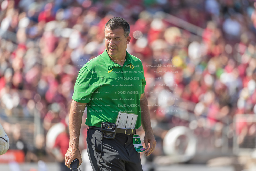 PALO ALTO, CA - OCTOBER 2:  Head Coach Mario Cristobal of the Oregon Ducks reacts during an NCAA Pac-12 college football game against the Stanford Cardinal on October 2, 2021 at Stanford Stadium in Palo Alto, California.  (Photo by David Madison/Getty Images)