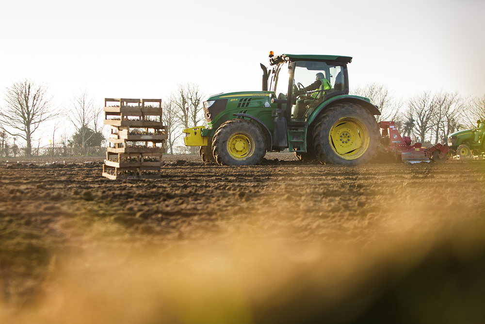 Farm worker ploughing the fields in the countryside of Jersey, Channel Islands, ready for planting Jersey Royal potatoes