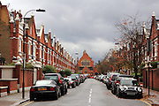 """Street with Victorian """"Lion"""" houses, Parsons Green, London SW6"""