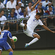 Juan Montes, Honduras, in action during the Israel V Honduras  International Friendly football match at Citi Field, Queens, New York, USA. 2nd June 2013. Photo Tim Clayton