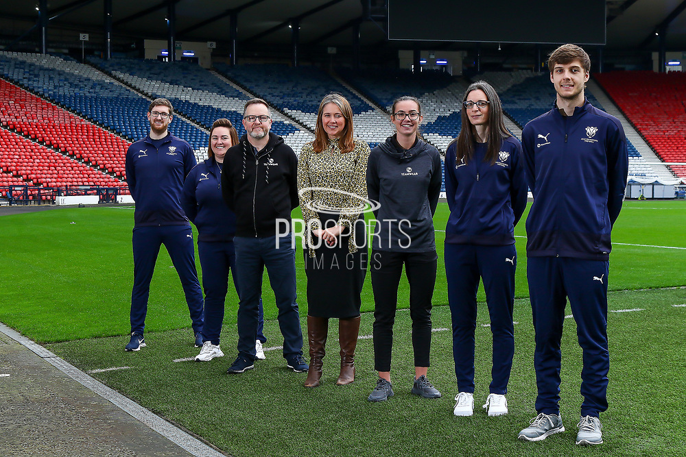 Scottish Womens Football has today agreed a new partnership with Edinburgh based Kit and Apparel Supplier Football Nation.<br /> <br /> The Partnership will see Scottish Women's Football Staff & Volunteers wearing matching kit supplied by FN Teamwear.<br /> <br /> Scottish Womens Football CEO Aileen Campbell, flanked by Stephen Dow, Managing Director of FN Teamwear & Shannon Leishman of FN Teamwear & Hibernian Women FC.<br /> <br /> They were joined by SWF Staff members Robert Wilson - SWF Marketing & Communications Officer, Lorna Cameron - SWF Senior Club & Competition Officer, Ruth McGeoch - Administrator & Liam McNally - SWF Club & Competition Officer<br /> <br /> 12/10/2021, The National Stadium, Hampden Park, Scotland.