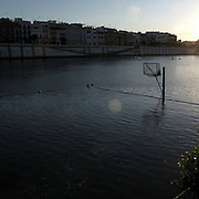 Basket in Guadalquivir river, Seville, Andalusia region, Spain . The WAY OF SAINT JAMES or CAMINO DE SANTIAGO following the Silver Way, between Seville and Astorga, SPAIN. Tradition says that the body and head of St. James, after his execution circa. 44 AD, was taken by boat from Jerusalem to Santiago de Compostela. The Cathedral built to keep the remains has long been regarded as important as Rome and Jerusalem in terms of Christian religious significance, a site worthy to be a pilgrimage destination for over a thousand years. In addition to people undertaking a religious pilgrimage, there are many travellers and hikers who nowadays walk the route for non-religious reasons: travel, sport, or simply the challenge of weeks of walking in a foreign land. In Spain there are many different paths to reach Santiago. The three main ones are the French, the Silver and the Coastal or Northern Way. The pilgrimage was named one of UNESCO's World Heritage Sites in 1993. When there is a Holy Compostellan Year (whenever July 25 falls on a Sunday; the next will be 2010) the Galician government's Xacobeo tourism campaign is unleashed once more. Last Compostellan year was 2004 and the number of pilgrims increased to almost 200.000 people.