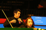 Ronnie O'Sullivan of England looks on at referee Malgorzata Kaieska during his 1st round match against Tom Ford of England. Coral Welsh Open Snooker 2017, day 2 at the Motorpoint Arena in Cardiff, South Wales on Tuesday 14th February 2017.<br /> pic by Andrew Orchard, Andrew Orchard sports photography.