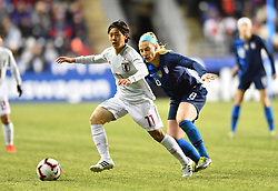 February 27, 2019 - Chester, PA, U.S. - CHESTER, PA - FEBRUARY 27: Japan Forward Rikaka Kobayashi (11) keeps the ball from US Midfielder Julie Ertz (8) in the first half during the She Believes Cup game between Japan and the United States on February 27, 2019 at Talen Energy Stadium in Chester, PA. (Photo by Kyle Ross/Icon Sportswire) (Credit Image: © Kyle Ross/Icon SMI via ZUMA Press)