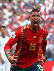 MOSCOW, July 1, 2018  Sergio Ramos of Spain celebrates after Russia's Sergey Ignashevich scored an own goal during the 2018 FIFA World Cup round of 16 match between Spain and Russia in Moscow, Russia, July 1, 2018. (Credit Image: © Cao Can/Xinhua via ZUMA Wire)