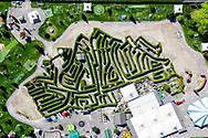 """Le parc de jeux """"Labyrinthe Aventure"""" en Valais (Suisse), est une place de jeux et d'attractions qui est ferme a cause du conoravisus, photographie en avril 2020. (Studio54/ OLIVIER MAIRE)"""