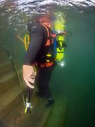 Hard hat commercial diver at Dutch Springs, Scuba Diving Resort in Bethlehem, Pennsylvania