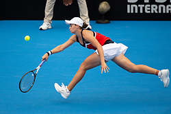 January 11, 2019 - Sydney, NSW, U.S. - SYDNEY, AUSTRALIA - JANUARY 11: Ashleigh Barty (AUS) stretches for a forehand in her game against Kiki Bertens (NED) at The Sydney International Tennis on January 11, 2018, at Sydney Olympic Park Tennis Centre in Homebush, Australia. (Photo by Speed Media/Icon Sportswire) (Credit Image: © Steven Markham/Icon SMI via ZUMA Press)