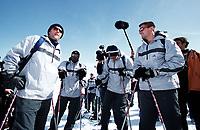 Fotball. Noen av Frankrikes spillere samlet i Tignes. 07.05.2002.<br />Franck Leboeuf, Djibril Cisse, Willy Sagnol og Gregory Coupet.<br />Foto: J-Christophe Lemasson, Digitalsport