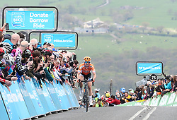 Boels-Dolmans' Megan Guarnier crosses the line to win the stage during day two of the ASDA Women's Tour de Yorkshire from Barnsley to Ilkley.