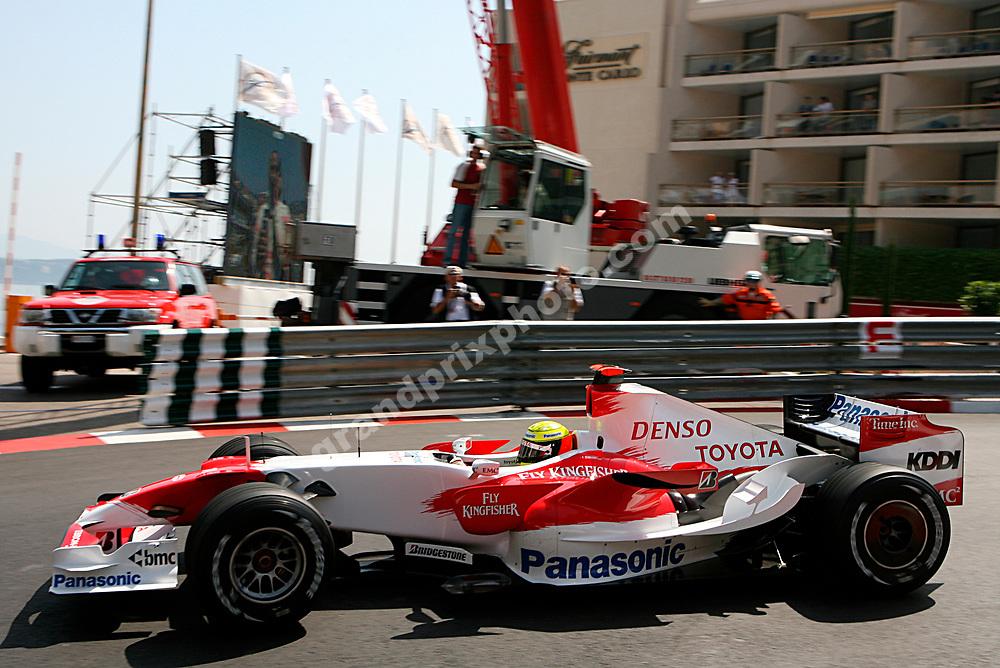 Ralf Schumacher (Toyota) in practice for the 2007 Monaco Grand Prix. Photo: Grand Prix Photo