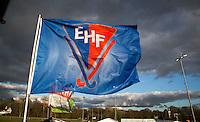 BLOEMENDAAL - EHF vlag tegen een mooie wolkenlucht.  . Euro Hockey League 2015 . COPYRIGHT KOEN SUYK