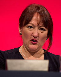 © Licensed to London News Pictures. 29/09/2015. Brighton, UK. Vegan shadow secretary of state for environment, food and rural affairs KERRY MCCATHY on stage on  Day three of the 2015 Labour Party Conference, held at the Brighton Centre in Brighton, East Sussex. This years conference takes place just weeks after Jeremy Corbyn was elected leader of the party. Photo credit: Ben Cawthra/LNP
