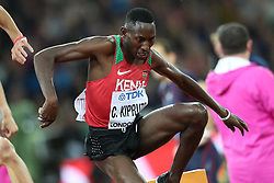 London, August 08 2017 . Conseslus Kipruto, Kenya, powers his way to victory in the men's 3,000m steeplechase final on day five of the IAAF London 2017 world Championships at the London Stadium. © Paul Davey.