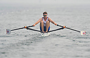 Shunyi, CHINA. GBR M1X Alan CAMPBELL, moves away from the start of his heat in the men's single scull at the 2008 Olympic Regatta,  Saturday, 09.08.2008  [Mandatory Credit: Peter SPURRIER, Intersport Images]