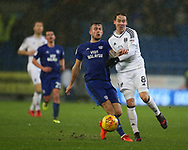 Stefan Johansen of Fulham ® challenges Joe Ralls of Cardiff city.EFL Skybet championship match, Cardiff city v Fulham at the Cardiff city stadium in Cardiff, South Wales on Boxing Day, Tuesday 26th December 2017.<br /> pic by Andrew Orchard, Andrew Orchard sports photography.
