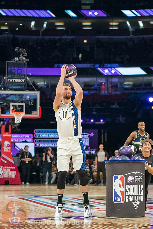 February 15, 2020; Chicago, Illinois, USA; Indiana Pacers forward Domantas Sabonis (11) participates in the skills challenge during NBA All Star Saturday Night at United Center.
