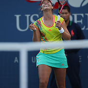 Laura Robson, Great Britain, celebrates her victory over Kim Clijsters, Belgium during the US Open Tennis Tournament, Flushing, New York. USA. 29th August 2012. Photo Tim Clayton