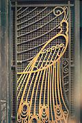 Close up of wrought iron peacock on art deco door, Casablanca, Morocco