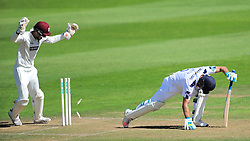 Will Smith of Hampshire is bowled by Roelof Van Der Merwe - Mandatory by-line: Alex Davidson/JMP - 23/08/2016 - CRICKET - Cooper Associates County Ground - Taunton, United Kingdom - Somerset v Hampshire - Specsavers County Championship Division One